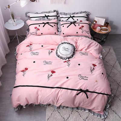2019新款色织水洗棉蕾丝刺绣四件套 1.5m(5英尺)床 如意-粉色