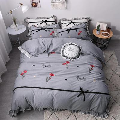 2019新款色织水洗棉蕾丝刺绣四件套 1.8m(6英尺)床 如意-灰色