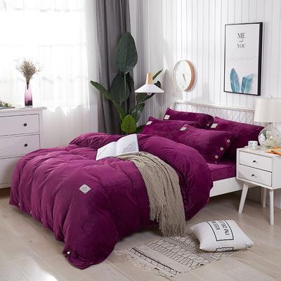 2019新品加厚宝宝绒纽扣纯色四件套 1.5m(5英尺)床 玫瑰紫