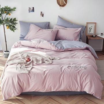 艾莱新品纯色全棉水洗棉绣花简约少女心床上用品刺绣四件套