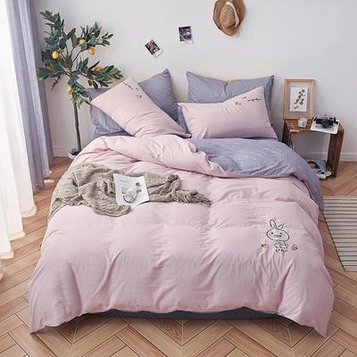 艾莱新品纯色全棉水洗棉绣花简约少女心床上用品刺绣四件套 1.2m(4英尺)床单款三件套 小兔子-水粉