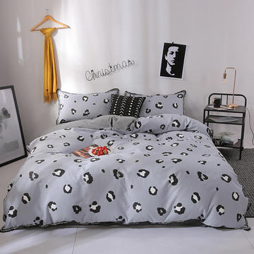北欧简约公主风全棉水洗棉流苏印花四件套床上用品