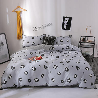 北欧简约公主风全棉水洗棉流苏印花四件套床上用品 1.2米(床单款) 豹纹-灰色