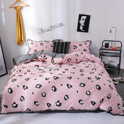 北欧简约公主风全棉水洗棉流苏印花四件套床上用品 1.2米(床单款) 豹纹-烟粉