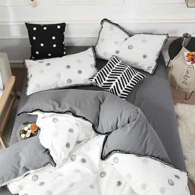 北欧简约公主风全棉水洗棉流苏印花四件套床上用品 1.2米(床单款) 波点生活