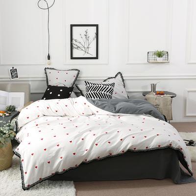 北欧简约公主风全棉水洗棉流苏印花四件套床上用品 1.2米(床单款) 心语心愿