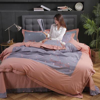 简约时尚全棉加厚刺绣宽边拼角四件套 1.5m-1.8m床 朵唯(紫)
