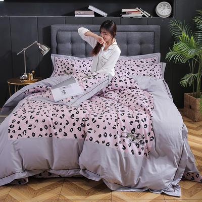 简约时尚全棉加厚刺绣宽边拼角四件套 1.5m-1.8m床 魅惑(粉)