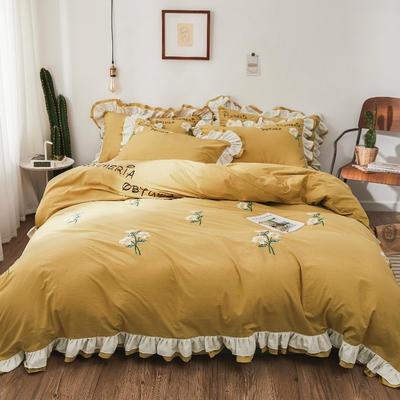 水洗棉绣花双层荷叶边四件套栀子花开 1.2床单款 栀子花开-贵族黄