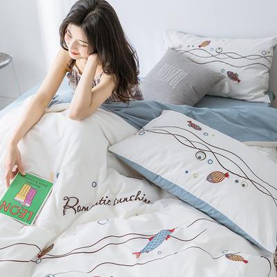 2019新款水洗棉绣花四件套 1.2m床单款三件套 锦鲤-白色