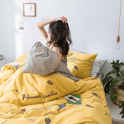 艾莱新款水洗棉简约全棉绣花小清新四件套 1.2m床单款三件套 锦鲤-黄色
