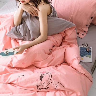 2019新款水洗棉绣花四件套 1.8m床单款四件套 天鹅-粉色