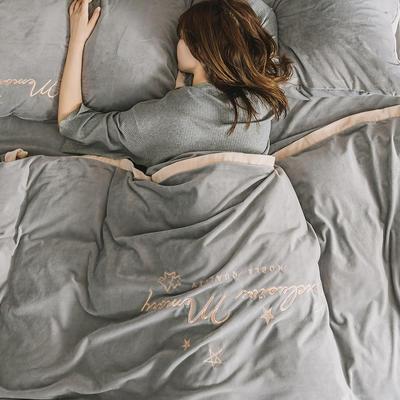 2019新款丽丝绒二代(丽暖绒)保暖冬款四件套 1.2m床单款三件套 遇见-灰色