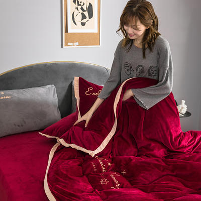 2019新款丽丝绒二代(丽暖绒)保暖冬款四件套 1.5m床单款四件套 遇见-酱红