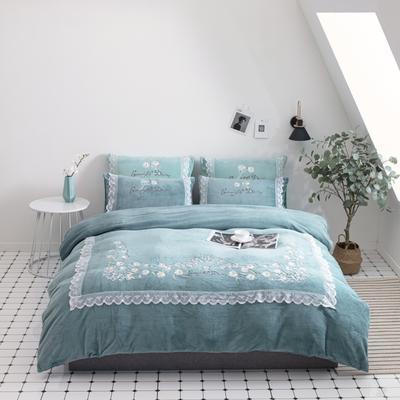 2020新款牛奶绒四件套-花开雏菊 1.8m床罩款四件套 花开雏菊-蓝色