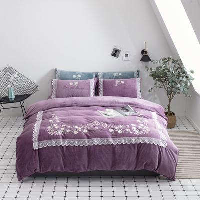 2020新款牛奶绒四件套-花开雏菊 1.8m床罩款四件套 花开雏菊-紫豆沙