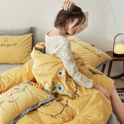 2019新款灯芯条纹绒棉线绣(保暖)四件套 1.2m床单款三件套 花儿朵朵-姜黄