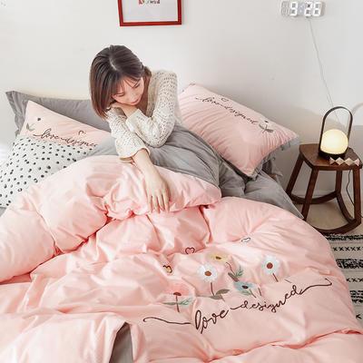 2019新款灯芯条纹绒棉线绣(保暖)四件套 2.0m床笠款四件套 花儿朵朵-玉色