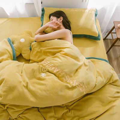 2019新款梦想小花-牛奶绒系列四件套 1.8m床单款四件套 梦想小花-姜黄