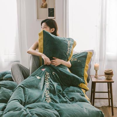 2019新款梦想小花-牛奶绒系列四件套 2.0m床笠款四件套 梦想小花-墨绿