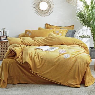 2019新款牛奶绒刺绣四件套-告白气球 2.0m床单款 告白气球-姜黄