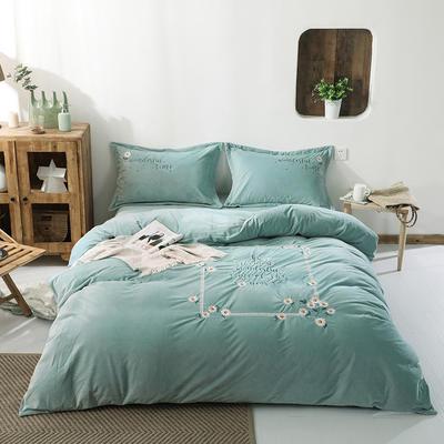 2119新款超暖绒刺绣小清新四件套 2.0m床单款 花音-水绿