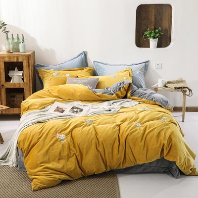 2119新款超暖绒刺绣小清新四件套 2.0m床单款 沁香-黄