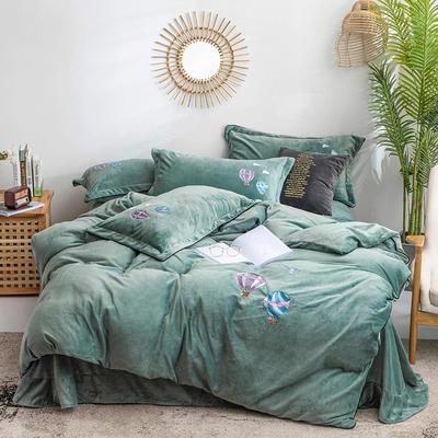 2019新款牛奶绒刺绣四件套-告白气球 2.0m床单款 告白气球-绿色