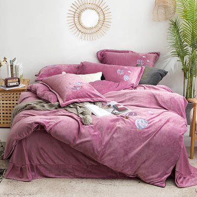 2019新款牛奶绒刺绣四件套-告白气球 1.5m床单款 告白气球-紫色