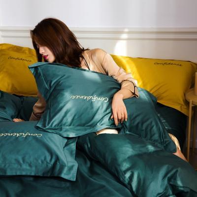 2019新款-100支(50支双股)贡缎澳棉四件套 床单款1.8m(6英尺)床 拾色—墨绿