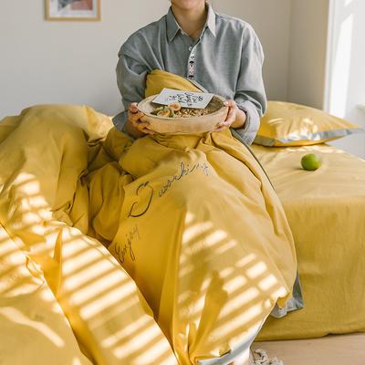 2020新款笑脸全棉水洗棉加厚绣花宽边四件套 1.5m床单款四件套 姜黄色