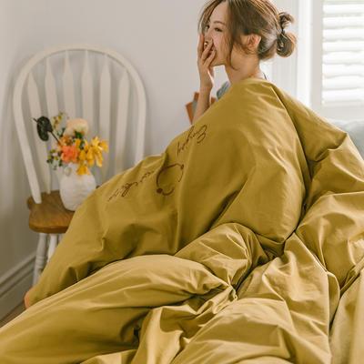 2020新款笑臉全棉水洗棉加厚繡花寬邊四件套 1.5m床單款四件套 土黃色