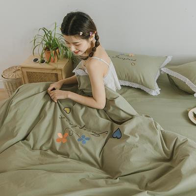 2020新款仙境系列全棉水洗棉绣花四件套 1.2m床单款三件套 仙境-豆绿