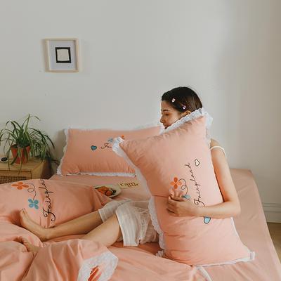 2020新款仙境系列全棉水洗棉绣花四件套 1.2m床单款三件套 仙境-粉玉