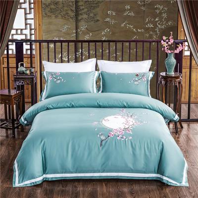 2020新款60s长绒棉新中式刺绣四件套 1.8m床单款 桃之韵律-绿