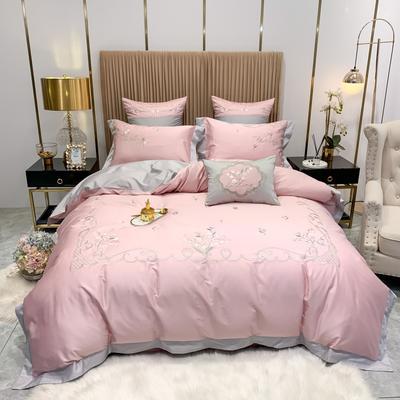 2020新款80长绒棉时尚刺绣潮流风 四件套 1.8m床单款 罗马花园-粉