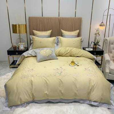 2020新款80长绒棉时尚刺绣潮流风 四件套 1.8m床单款 罗马花园-香槟