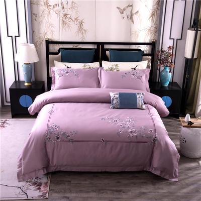 2020新款60s长绒棉新中式刺绣四件套 1.8m床单款 花草迷香-紫豆沙