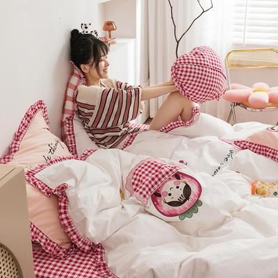 2020新款13372全棉韩版绣花四件套 1.8m床单款四件套 草莓女孩-白
