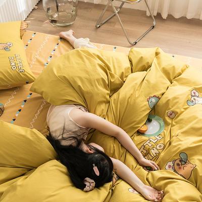 2020新款13372全棉韩版绣花四件套 1.5m床单款四件套 泡泡龙-黄