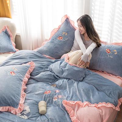 2020新款加厚超暖婴儿绒刺绣四件套-美妍 1.8m床单款四件套 美妍-湖蓝