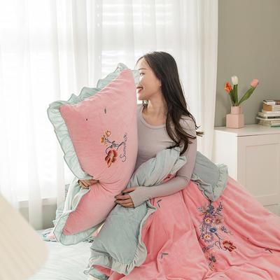 2020新款加厚超暖婴儿绒刺绣四件套-美妍 1.8m床单款四件套 美妍-藕粉