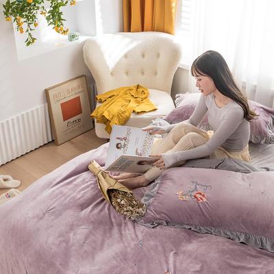 2020新款加厚超暖婴儿绒刺绣四件套-美妍 1.5m床单款四件套 美妍-浅紫