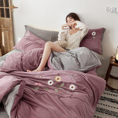 2020新款灯芯条纹绒棉线绣(保暖)四件套 1.5m床单款四件套 花儿朵朵-豆沙
