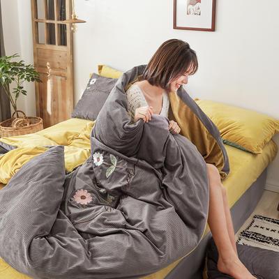 2020新款灯芯条纹绒棉线绣(保暖)四件套 1.2m床单款三件套 花儿朵朵-灰色