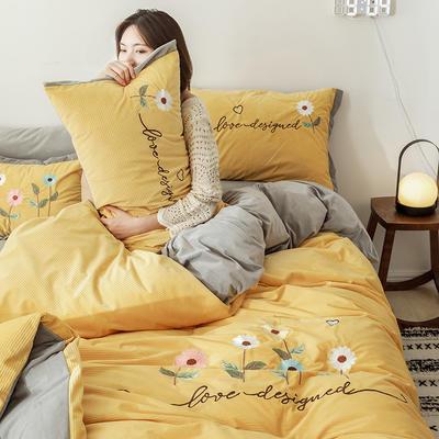 2020新款灯芯条纹绒棉线绣(保暖)四件套 1.2m床单款三件套 花儿朵朵-姜黄
