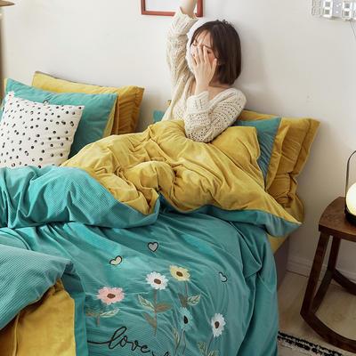 2020新款灯芯条纹绒棉线绣(保暖)四件套 1.5m床单款四件套 花儿朵朵-绿色