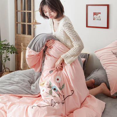 2020新款灯芯条纹绒棉线绣(保暖)四件套 1.2m床单款三件套 花儿朵朵-玉色