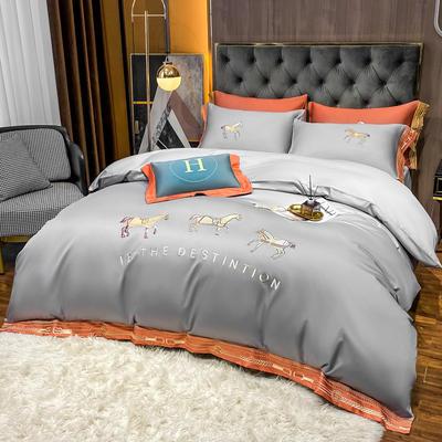 2021新款100支长绒棉绣花四件套洛克 1.8床四件套床单款 洛克 -碳木灰