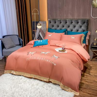 2021新款100支长绒棉绣花四件套洛克 1.8床四件套床单款 洛克-浆果红
